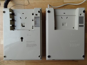 Left: pre-production MBX Unit Right: commercial MBX Unit The pre production unit has a lot more holes in the plastic case than the commercial unit. I still don't understand the meaning of the big hole area, was it meant to be expanded or mechanically or even electrically plugged into something? The board of the pre production unit has a metal shielding which is not in the commercial unit.