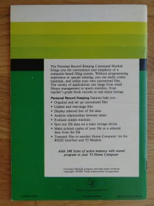 Personal Record Keeping PHM 3013, 1105507-0001 © 1980 Texas Instruments