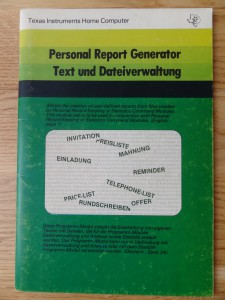 Personal Report Generator PHM 3044,  1105729-0001 © 1980 Texas Instruments