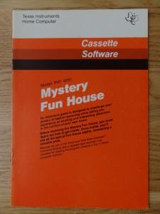 Mystery Fun House PHT 6051,  1109024-0020 © 1981 Texas Instruments © 1981 Adventure International