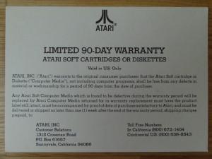 Atari Warranty Card Front CO60468 Rev. A © 1983 Atari, Inc.