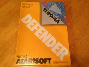 Defender™, Packaging Front Atarisoft RX 8506, TI-99/4A © 1983 Atari, Inc.