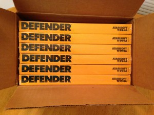 Defender™, Shipping Box Top Atarisoft RX 8506, TI-99/4A © 1983 Atari, Inc.