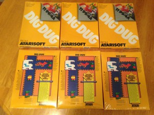 Dig Dug™, Packaging Boxes Atarisoft RX 8509, TI-99/4A © 1983 Atari, Inc.