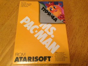 Ms. Pac-Man™, Packaging Front Atarisoft RX 8543, TI-99/4A © 1983 Atari, Inc.