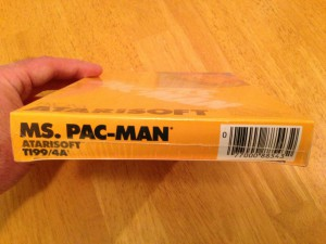 Ms. Pac-Man™, Packaging Bottom Atarisoft RX 8543, TI-99/4A © 1983 Atari, Inc.
