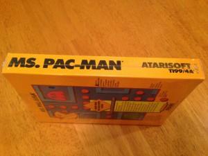Ms. Pac-Man™, Packaging Left Side Atarisoft RX 8543, TI-99/4A © 1983 Atari, Inc.