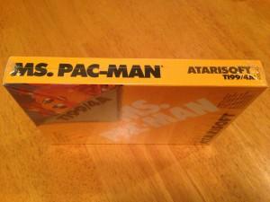 Ms. Pac-Man™, Packaging Right Side Atarisoft RX 8543, TI-99/4A © 1983 Atari, Inc.