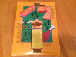 Picnic Paranoia™, Packaging Back Atarisoft RX 8517, TI-99/4A © 1983 Atari, Inc.
