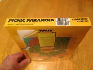 Picnic Paranoia™, Packaging Bottom Atarisoft RX 8517, TI-99/4A © 1983 Atari, Inc.