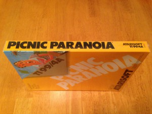 Picnic Paranoia™, Packaging Right Side Atarisoft RX 8517, TI-99/4A © 1983 Atari, Inc.